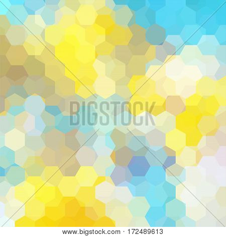 Abstract Background Consisting Of Yellow, Blue, White Hexagons. Geometric Design For Business Presen