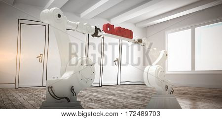 Computer generated image of mechanical robotic hands holding red cloud text against doodle doors in room
