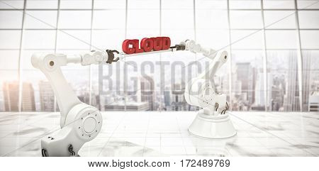 Computer generated image of robotic hands holding cloud text against modern room overlooking city
