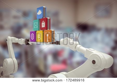 White robotic hands holding computer icons against image of technology