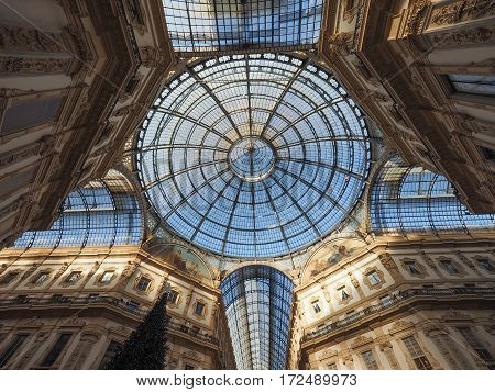 Glass Roof Of Galleria Vittorio Emanuele Ii Arcade In Milan