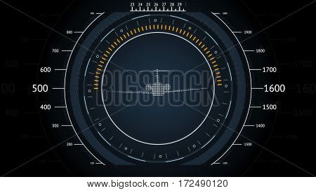 Screen Navigation with airplane. Futuristic HUD interface. Screen with airplane. High tech background. Abstract virtual graphic touch user interface.