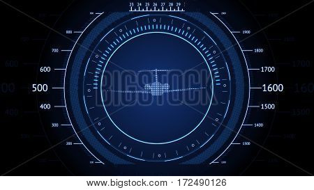 Blue screen Navigation with airplane. Futuristic HUD interface. Screen with airplane. High tech background. Abstract virtual graphic touch user interface.