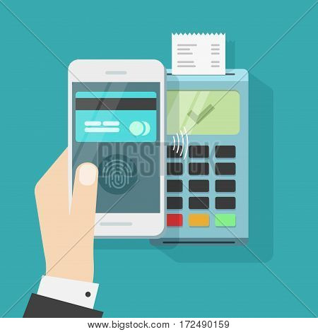 Wireless payment with smartphone and terminal vector illustration, flat style mobile phone in hand with credit card on screen display and fingerprint processed successful pay on nfc, contactless tech