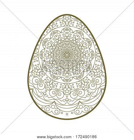 Easter egg with abstract ornament. Template for laser cutting. It can be used to design greeting cards, envelopes, invitations, a stencil for cutting paper.