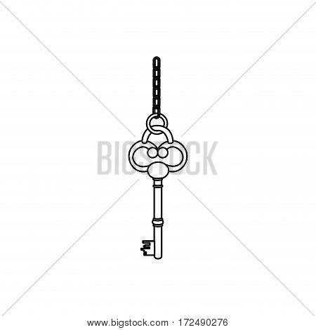 figure old key hanging icon, vector illustration image design
