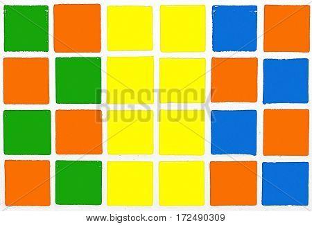 Glazed tiles colorful orange blue yellow gree