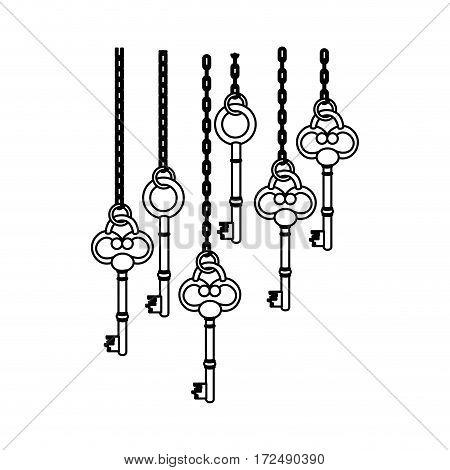 figure old keys hanging icon , vector illustration image design