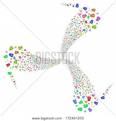 Financial Capital fireworks swirl rotation. Vector illustration style is flat bright multicolored iconic symbols on a white background. Object whirlpool made from random pictograms.