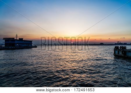 view of harbor at sunset in JiangyinChina.