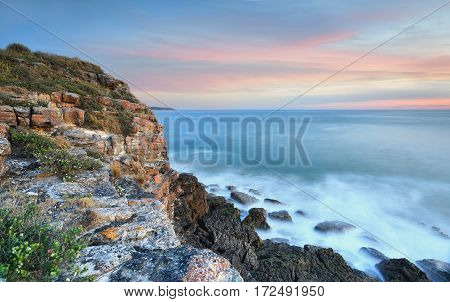 Coastal Seascape Views On Dusk Australia
