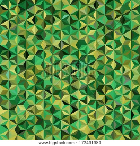 Background Of Green, Yellow Geometric Shapes. Seamless Mosaic Pattern. Vector Illustration