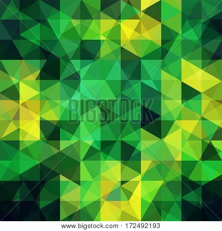Background Of Green, Yellow Geometric Shapes. Abstract Triangle Geometrical Background. Mosaic Patte