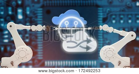 Cloud with shuffle symbol against connectivity antenna against blue electronic circuit
