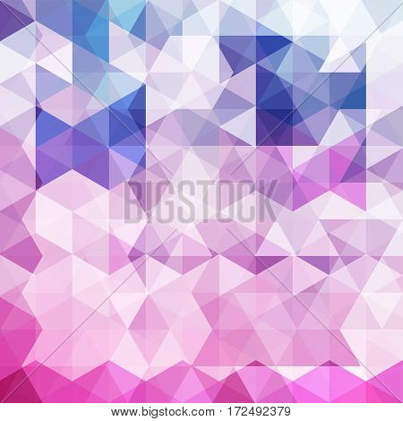 Background Made Of Pink, White, Purple, Blue Triangles. Square Composition With Geometric Shapes. Ep