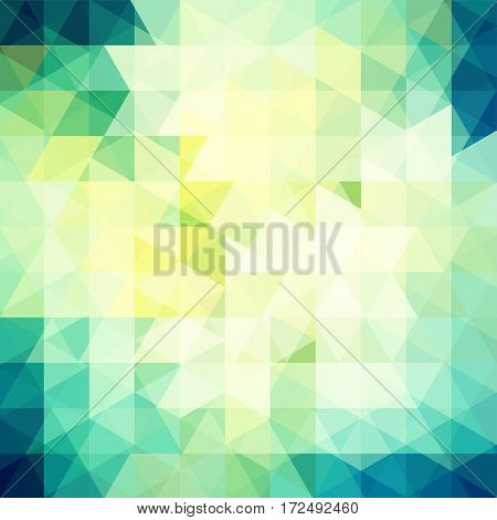 Background Of Yellow, Green, White Geometric Shapes. Abstract Triangle Geometrical Background. Mosai