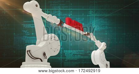 Computer generated image of metallic robotic hands against green background with vignette