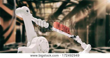 Computer generated image of metallic robotic hands against image of data center