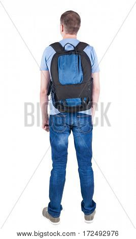 Back view of man with  backpack looking up. Rear view people collection.  backside view of person.  Isolated over white background. guy in the green t-shirt stands with a suitcase on wheels