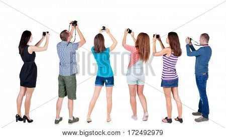Back view group of people photographed attractions. Rear view team people collection.  backside view of person.  Isolated over white background.