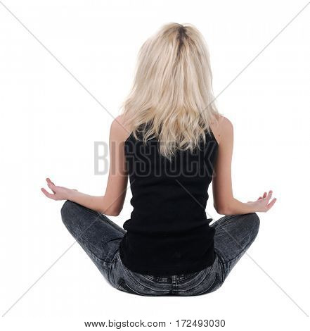 beautiful businesswoman exercising yoga .rear view.  Isolated over white background .