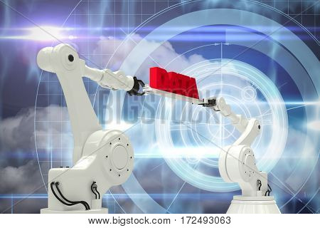 Metal robotic hands holding red data message against white background against blue technology design with circle