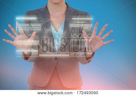 Businesswoman using digital screen against genes diagram