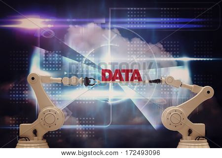 Robotic hands holding red data message against white background against blue technology design with circle