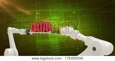 White robotic hands holding red data message over white background against green background with vignette