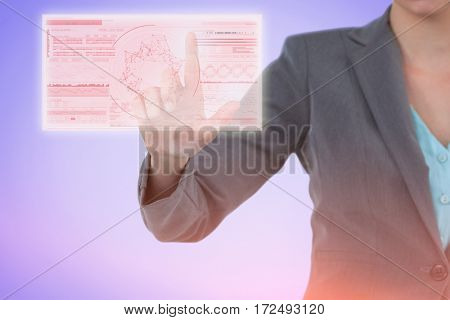 Businesswoman using invisible digital screen against genes diagram on white background