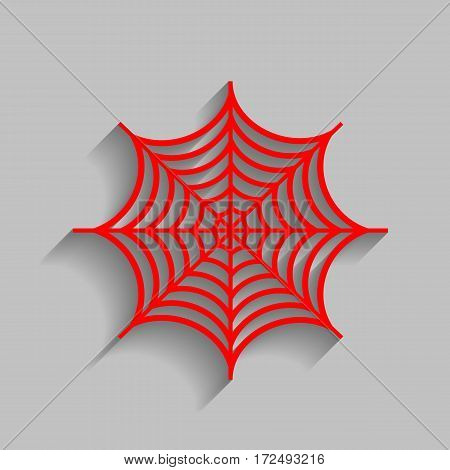 Spider on web illustration. Vector. Red icon with soft shadow on gray background.