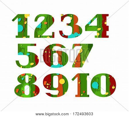 Numbers, color, paint and stain, vector. Vector numerals with serif. Colored splashes of paint on a green brown background. Simulation.