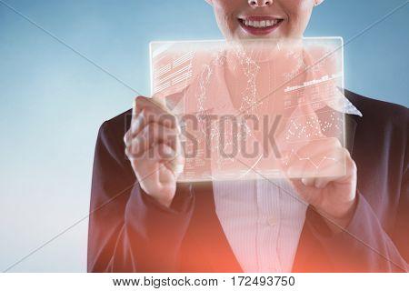Businesswoman pretending to use digital tablet against genes diagram