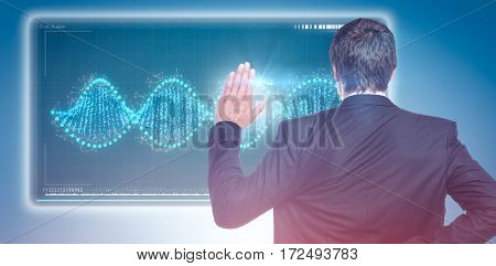 Businessman with crossed fingers and stop gesture against blue vignette