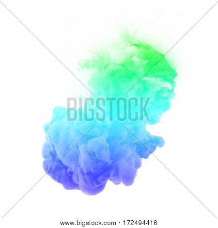 multi colorful Acrylic colors ink in water. cloud explosion, ink explosion,colorful smoke,abstract white background