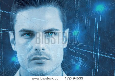 Man wearing contact lens against illustration of virtual data