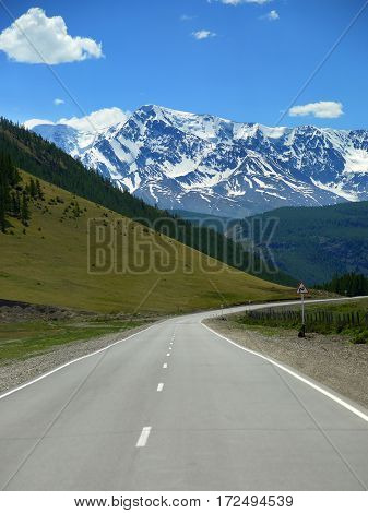 landscape with mountain road, Altai, Russia