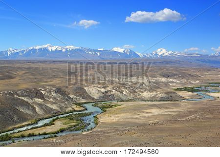 landscape with river in Altai mountains, Russia