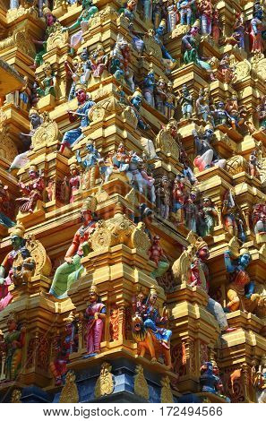 fragment of the roof of Hindu temple in Sri Lanka