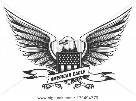 American bald eagle emblem or badge with shield, stripes and stars isolated on white background