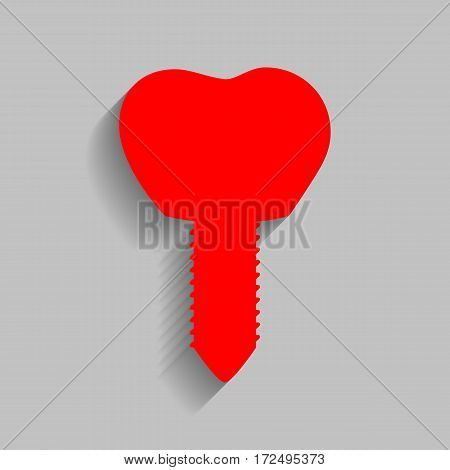 Tooth implant sign illustration. Vector. Red icon with soft shadow on gray background.