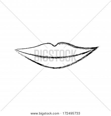 contour silhouette woman lips icon, vector illustration design
