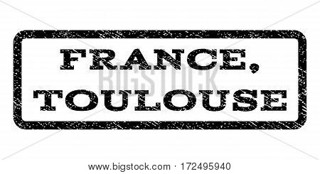 France, Toulouse watermark stamp. Text tag inside rounded rectangle with grunge design style. Rubber seal stamp with dust texture. Vector black ink imprint on a white background.