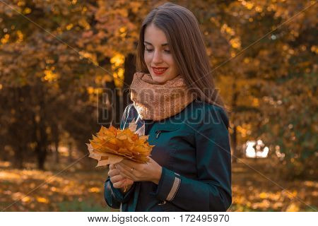 girl stands in the Park is looking at the leaves in the hands of