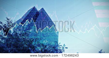 Stocks and shares against buildings against clear sky