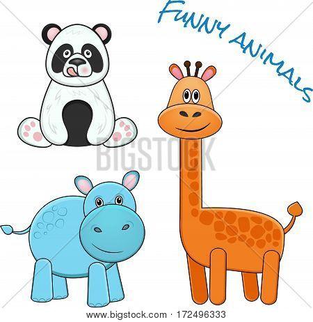 Funny animals collection: giraffe, panda, hippopotamus. Vector illustration