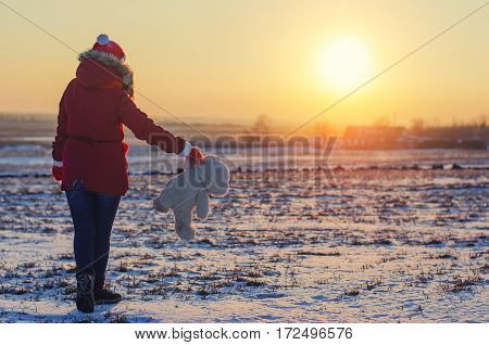 girl holding a bear and goes to sundown