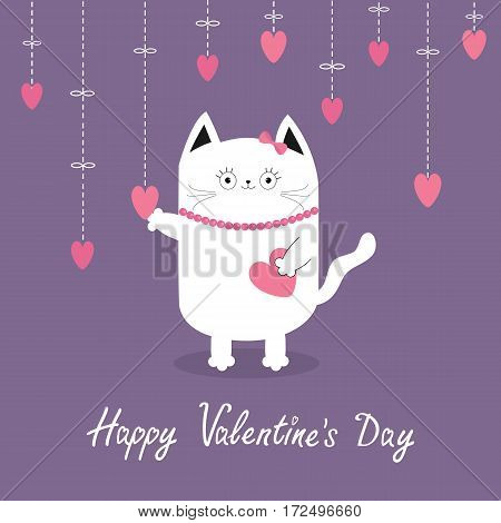 Happy Valentines Day. White cat Hanging pink hearts. Dash line. Heart set Cute cartoon character. Kawaii animal. Love Greeting card. Flat design style. Violet background. Isolated Vector