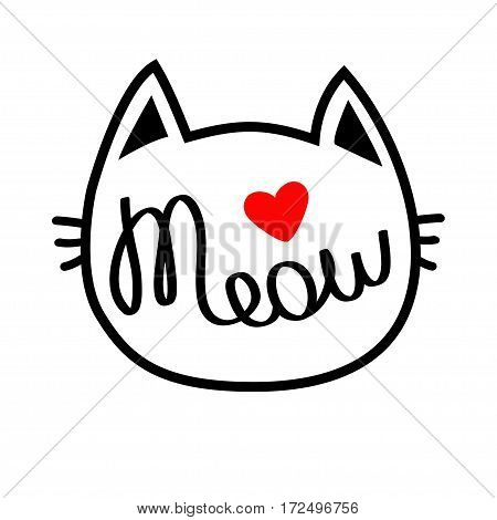 White cat head silhouette shape. Meow lettering text. Cute cartoon character. Red heart. Love card. Kawaii animal. Baby pet collection. Sign Symbol. Flat White background. Isolated Vector illustration