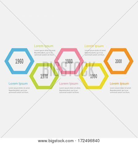 Five step Timeline Infographic. Colorful big polygon segment. Template. Flat design. White background. Isolated. Vector illustration